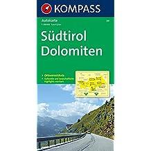 Südtirol - Dolomiten: Autokarte 1:150000 mit Ortsverzeichnis. (KOMPASS-Autokarten, Band 331)