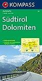Südtirol - Dolomiten: Autokarte 1:150000 mit Ortsverzeichnis. (KOMPASS-Autokarten, Band 331) -