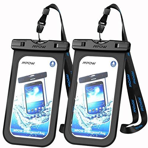 Mpow MPPA078AB, Funda Resistente al Agua IPX 8,Impermeable para Teléfono Móvil,Duradero y Resistente,Funda para Debajo del agua, color negro, 2 Unidades