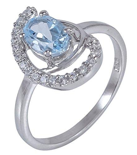 ng Silber Exklusive Blautopas Stein Designer Ring Modeschmuck (Designer Modeschmuck)