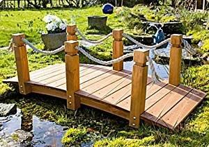 GASPO 49086-2 Teichbrücke Gartenbrücke aus massivem Kiefernholz, 152 x 67 x 50 cm