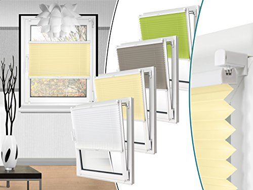 Plissee in 4 Farben & in 10 Größen - vormontiert und mit Klemmfixierung am Fensterahmen - kinderleichte 3-Step Montage, ca. 60 x 130 cm, beige