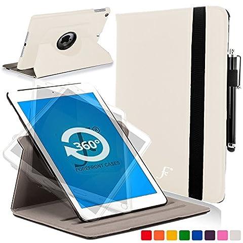 ForeFront Cases® Neue Apple iPad Air Kunstleder Hülle Schutzhülle / Ständer Rotierend / Drehbar - Magnetische Auto Sleep/Wake-Funktion für 2013 iPad Air + WiFi 16Gb, 32Gb, 64Gb, 128Gb - WEIß