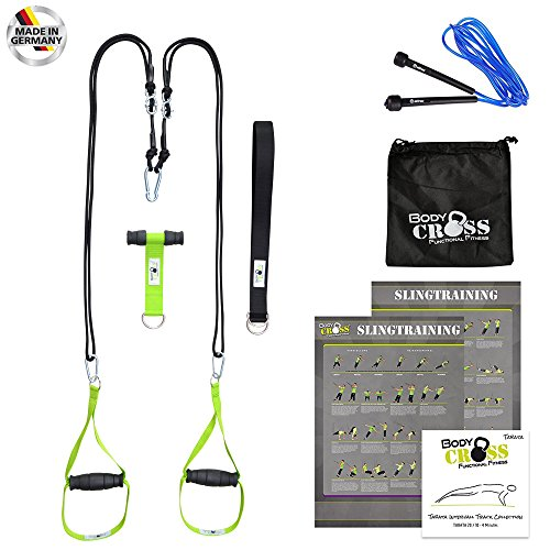 Schlingentrainer | Handmade in Germany | Profi Sling Trainer | inkl. Springseil, Übungsposter, 10-Wochen Trainingsplan und Intervall Musik CD | Rope Trainer | Variante: (Limette abnehmbare Griffe)