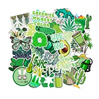 Healifty Green Stickers for Water Bottles Waterproof Vinyl Stickers for Laptop Luggage Skateboard Motorcycle Bicycle Decal Graffiti Patches100pcs