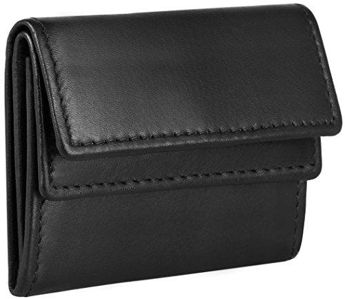 Mini porte-monnaie en cuir véritable huilé, modèle 3527, couleur:Noir