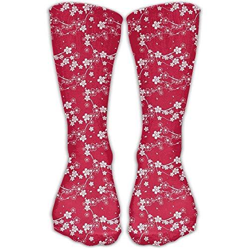 XCVNBX Plum Cherry Blossom Red Pattern Good Luck Sock Unisex Good for Gift Idea -