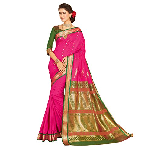 Craftsvilla Women's Bangalore Silk Zari Work Pink Saree with blouse piece (Orange)