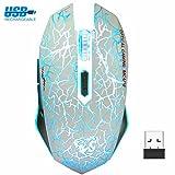 VEGCOO Drahtlose Gaming Maus, Aufladbare Drahtlose geräuschlos Maus vmit Bunte LED-Leuchten und 2400/1600/800 DPI, 1000mAh NI-MH-Akkus Für Laptop und Computer (Weiß)
