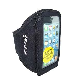 Runalyzer® [Noir, Taille S] - Petit brassard sport souple et léger avec fermeture éclair pour iPhone 5 et iPod touch 5G