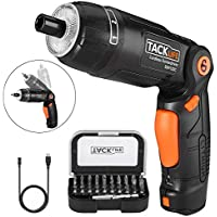 Electric Screwdriver, Tacklife SDH13DC 2000mAh 3.6V Li-on 4Nm Cordless Screwdriver, 3 Flexible Positions and 6 Torque Setting with 31pcs Bonus Bits, Front and Rear Lam in a Storage Box