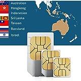 travSIM Sim Karte für Asien (7 Länder) + 500MB Daten Optionen für 30 Tage (Australien, Hongkong,Indonesien, Israel,Russland,Sri Lanka,Taiwan)