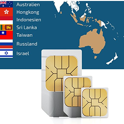 Preisvergleich Produktbild travSIM SIM Karte für Asien (7 Länder) + 2GB Daten Optionen für 30 Tage (Australien, Hongkong,Indonesien, Israel,Russland,Sri Lanka,Taiwan)