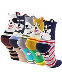 ZAKASA Mujeres Hola Cachorro Perros Animales Print Crew Socks Calcetines de Algodón Perro Crew Novedad Liner Calcetines EU 35-41