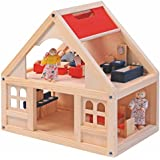 Casa de muñecas casa de muñecas casa completa con muebles y muñecos de madera muñeca
