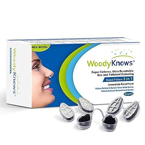 WoodyKnows 3 in 1 Nasenfilter kombiniert Ultra-Atmungsaktiv, Super Defense und