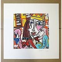quadro moderno su tela, titolo (bacco) Riproduzione su tela con retouche, olio su tela, opera certificata di Alessandro Siviglia 20x20 cm con passepartout 30x30 cm foro centrale 19x19 cm