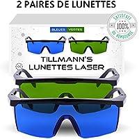 Lunettes Laser Tillmann's- Deux paires de Lunettes de Protection contre la Lumière Pulsée. Livrées avec un petit sac-étui. A porter lors de l'épilation au laser. A utiliser lors de manipulation de techniques IPL