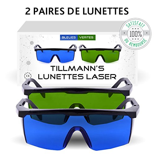 Lunettes Laser Tillmanns- Deux paires de Lunettes de Protection contre la Lumière Pulsée. Avec un petit sac-étui. A porter lors de lépilation au laser et lors de manipulation de techniques IPL