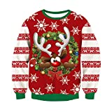 RAISEVERN Unsiex hässliche Weihnachts Pullover Sweatshirts 3D Drucken Neuheit Xmas Hirsch Elch Langarm T-Shirt rot XL