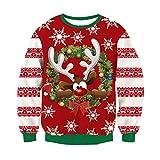 RAISEVERN de Noël Sweat Mens Unisexe Ugly Pull 3D Renne Santa Lumière Xmas Graphic Jumper XXL