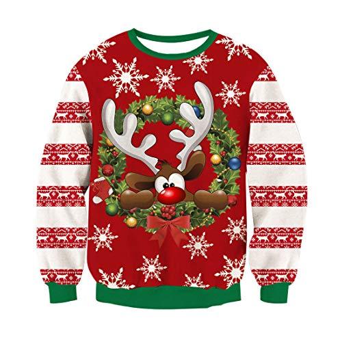 RAISEVERN Unsiex hässliche Weihnachts Pullover Sweatshirts 3D Drucken Neuheit Xmas Hirsch Elch Langarm T-Shirt rot XL -
