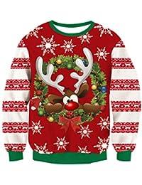 RAISEVERN Christmas Sudaderas sin Capucha Jumpers b398106456bf
