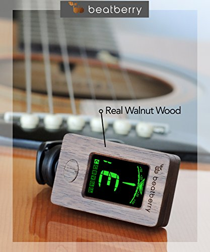 Beatberry Wooden Clip-On Tuner | Chromatic Tuner for Guitar Bass Ukulele Banjo Cello Violin | With High Quality Wooden Gift Packaging | Perfect as a Christmas Gift for Musicians
