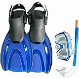 Wasserspringer Set Flossen verstellbaren + Maske + Schnorchel 36/38