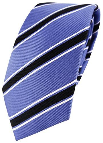 TigerTie XXL Seidenkrawatte blau schwarz weiß gestreift - Überlänge 170 x 7 cm