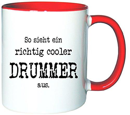 Mister Merchandise Kaffeetasse Becher So Sieht EIN richtig Cooler Drummer aus. Schlagzeug...