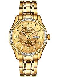 BINLUN 18 K Oro Hombres Reloj japonés automático con Calendario Impermeable Relojes para Hombres