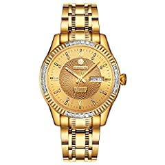 Idea Regalo - Binlun, orologio da uomo in acciaio inox, placcato d'oro 18 ct, orologio da polso, impermeabile e automatico