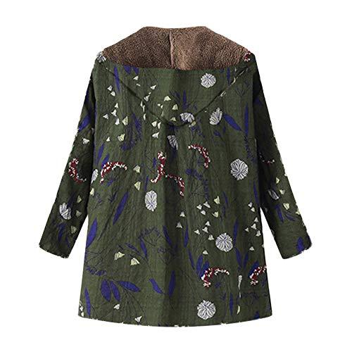 Tefamore Femmes d'hiver Chaud Outwear imprimé Floral Poches à Capuchon Vieilli Plus de <BR> Taille Manteaux(Armée Verte,Small)