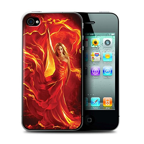 Officiel Elena Dudina Coque / Etui pour Apple iPhone 4/4S / Fille Rouge Design / Dragon Reptile Collection Robe Feu
