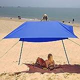 Creine 3x3m Sonnensegel Strand Sonnenschutz Strandzelt Sonnendach Sonnenzelt UV-Schutz Wasserdicht für Camping, Wandern, Angeln, Strand, Picknick (Blau)