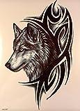 MÄNNER TATTOO WOLF UND TRIBAL SCHWARZ Oberarm Tattoo Aufkleber Fake Tattoo wx067