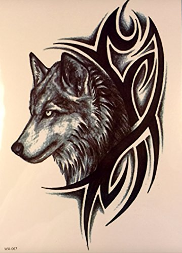 m nner tattoo wolf und tribal schwarz oberarm tattoo aufkleber fake tattoo wx067. Black Bedroom Furniture Sets. Home Design Ideas
