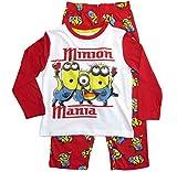 Die Minions Schlafanzug Jungen Pyjama (Weiß-Rot, 98)
