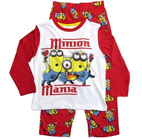 (Die Minions Schlafanzug Jungen Pyjama (Weiß-Rot, 122-128))