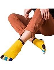 Vollter 1 par de calcetines cortos para hombre no deslizamiento multicolor cinco dedos hechos de calcetines de algodón