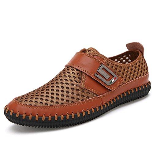 XIGUAFR Homme Chaussure au Loisir sans Lacet Légère Chaussure de Ville en Cuir Ajouré Respirante