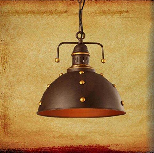 Suspensions 110-240 V 1 * E27 (Sans ampoule) Fer industrielle rivet loft rétro lampe pour Restaurant Cafe Bar Éclairage, 36 * 36/32 * 40 cm, Large