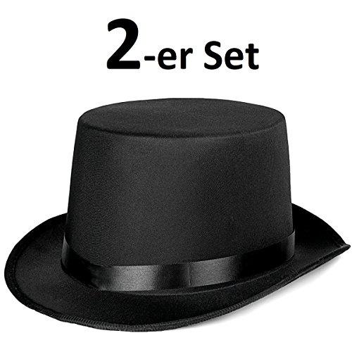 2er Set - Eleganter Zylinder Herren Damen - Klassischer Magierhut in Schwarz - Idealer Zauberer Magier Dandy Gigolo Stripper Hut für Party, Halloween, Fasching und Karneval (2x Zauberer ()