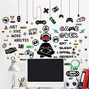 مجموعة ملصقات جدارية من الفينيل يمكنك لصقها بنفسك بتصميم ذراع تحكم لالعاب الفيديو مكونة من 76 قطعة لتزيين غرف