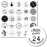 Lasse und Lucie Aufkleber für Adventskalender / 24 Sticker im schwarz-Weiss Design/Jeder Sticker 3,5 Zentimeter Durchmesser (schwarz-Weiss)