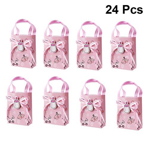 TOYANDONA Geschenke Box Papier Babys Flasche Bogen Muster Mini Geschenk Tasche mit Griffen für Baby Dusche Kinder Geburtstagsgeschenk 24 Stück (Rosa) (Geschenk-taschen Für Baby-dusche)