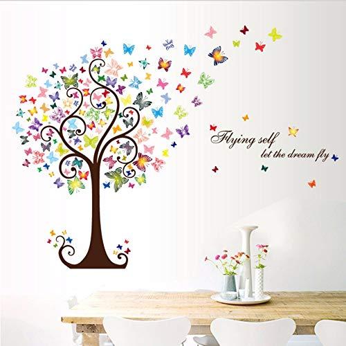 Gwgdjk Schmetterling Baum Wohnkultur Aufkleber Wandkunst Aufkleber 3D Diy Tapete Dekoration Für Kinderzimmer Wandaufkleber
