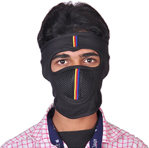 Dhoom 3 D3GFMWL Black With Black Air Filter Color Lined NINJA Mask Full Face Cover Mask BIKE RIDER MASK ANTI POLLUTION MASK With Velcro Closure(Black)  available at amazon for Rs.165