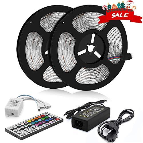 (Wlife LED Strip, 10M Wasserdicht Streifen, 300 SMD 5050 LED RGB Strips, IP65 Wasserdicht flexibles Selbstklebend einstellbarer Farben LED Lichtband und 44 Tasten Fernbedienung, [Energieklasse A ++])